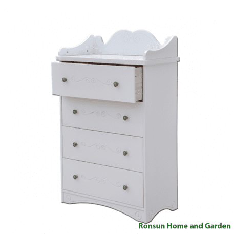 Kids 4 Drawers Chest - side view - top opened