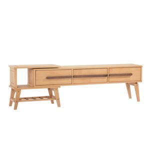 Wood TV Media Stand Storage Console