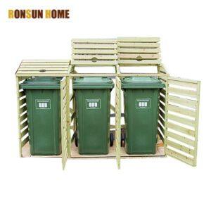 wood trash bin store
