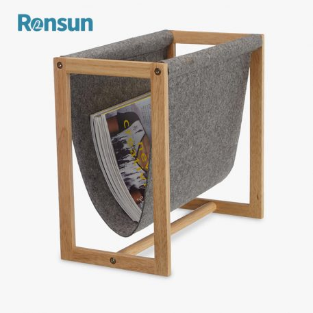 Wooden Frame Felt Magazine Rack