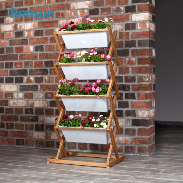 Wooden Foldable Plant Flower Stand 4